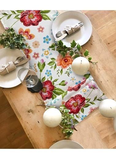 The Mia Floral Runner A - 140 x 40 Cm - Beyaz Çiçekli Beyaz